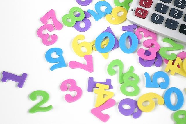 カラフルな数字と電卓
